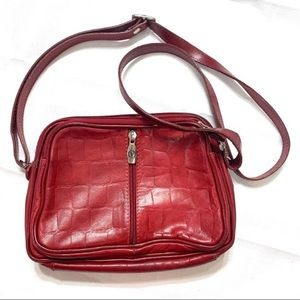 Valentina in Pell Red Leather Cross Body Bag Purse